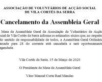 Cancelamento - Assembleia Geral